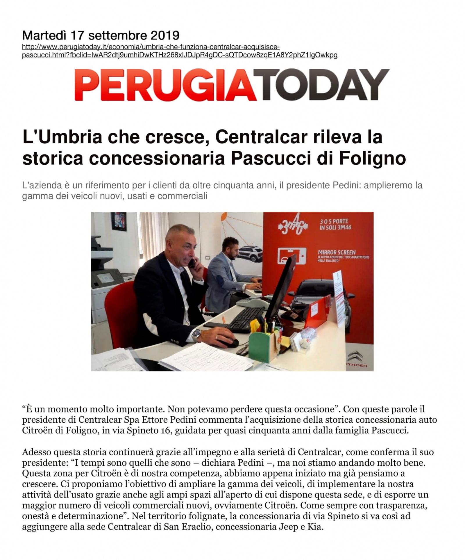 L'Umbria che cresce, Centralcar rileva la storica concessionaria Pascucci di Foligno