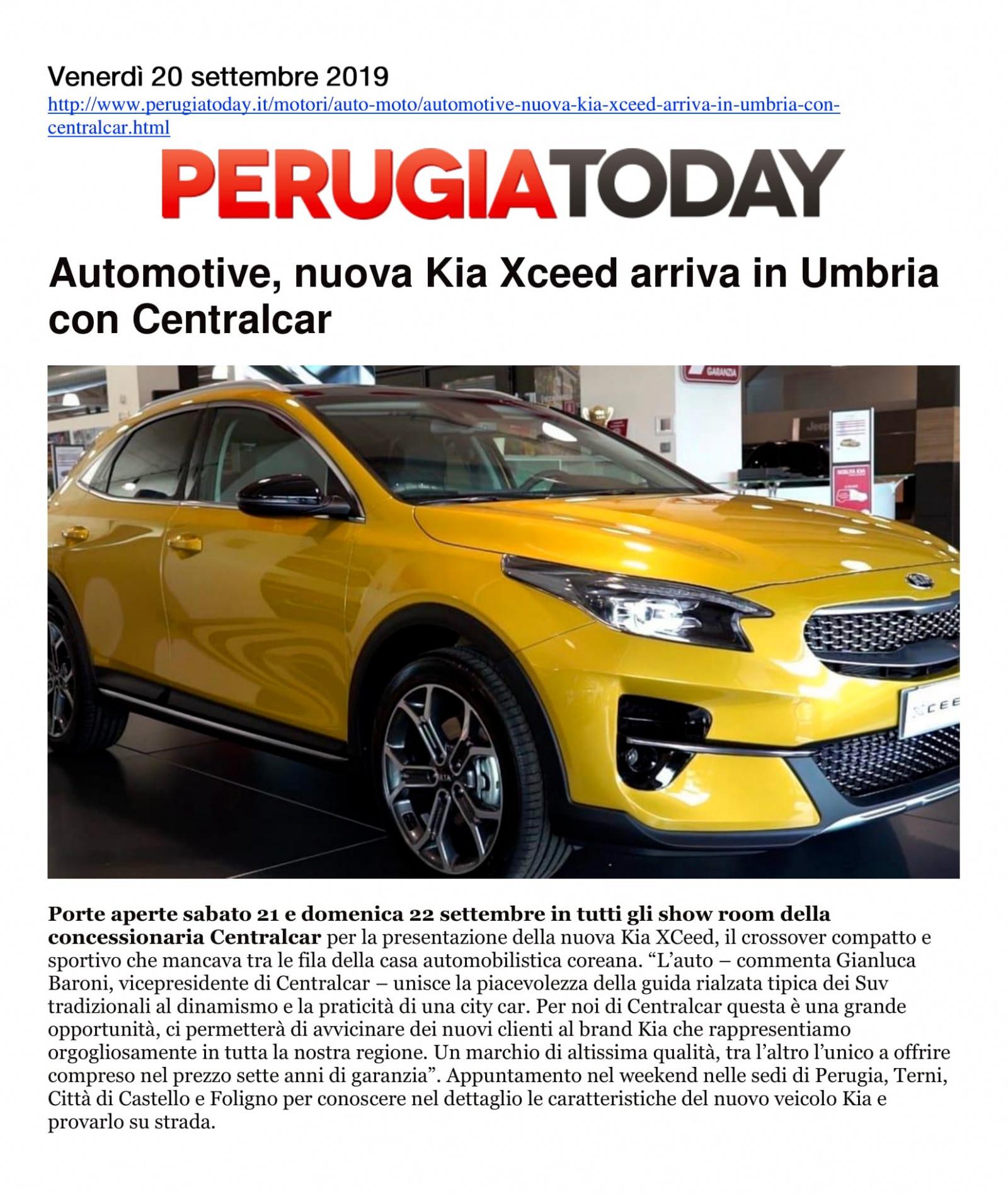 Automotive, nuova Kia XCeed arriva in Umbria con Centralcar