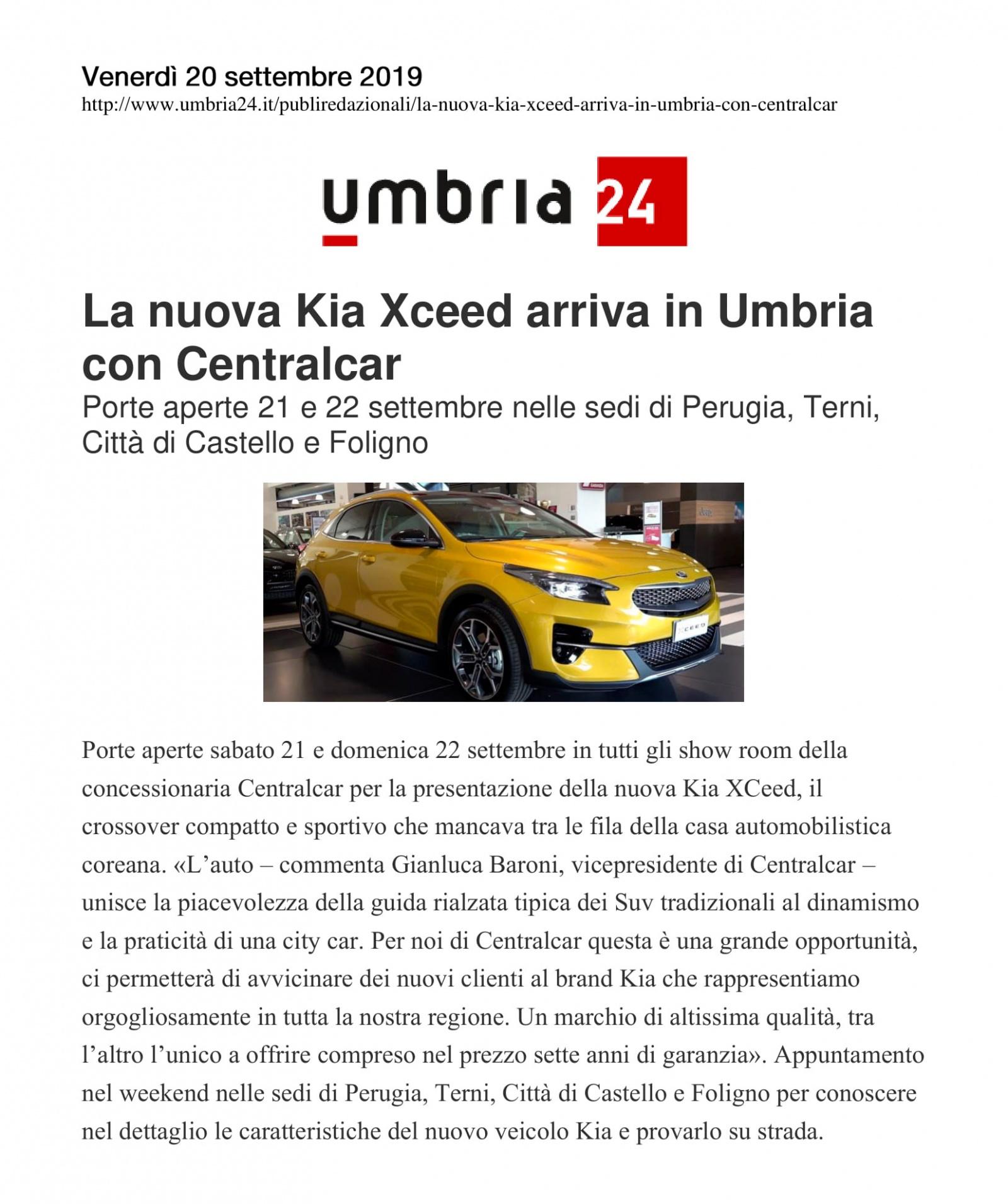 La nuova Kia Xceed arriva in Umbria con Centralcar