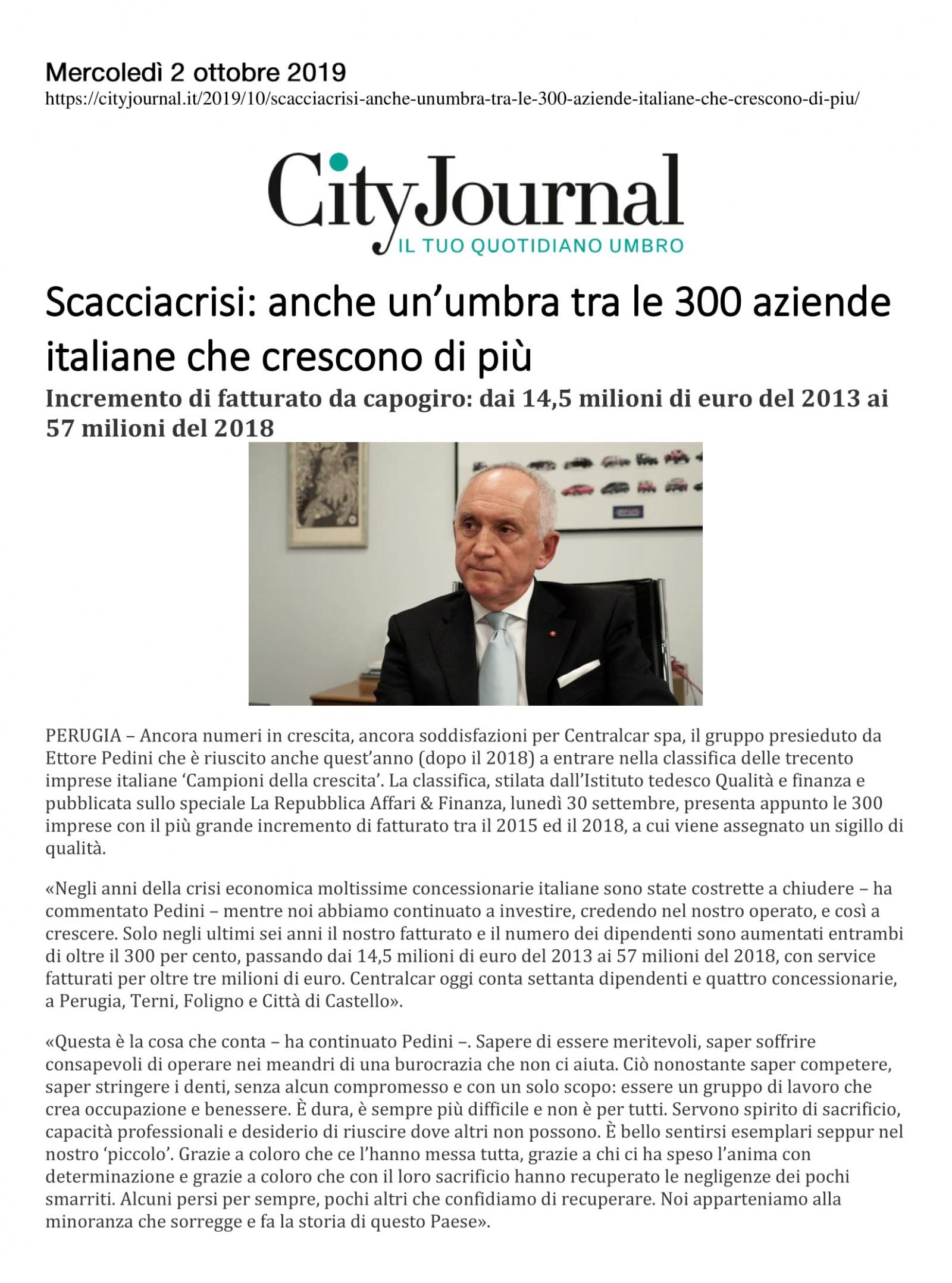 Scacciacrisi: anche un'umbra tra le 300 aziende italiane che crescono di più
