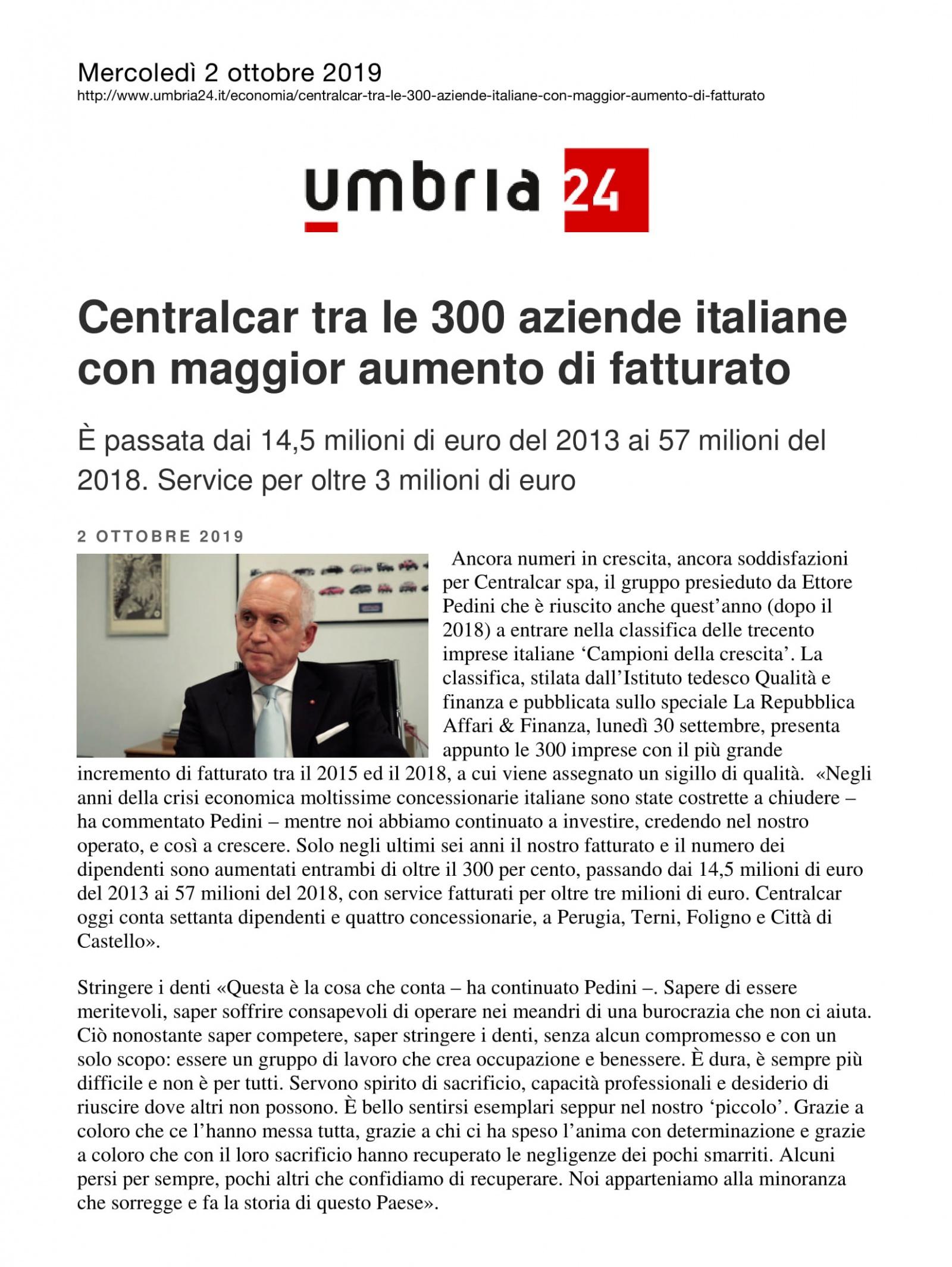 Centralcar tra le 300 aziende italiane con maggior aumento di fatturato