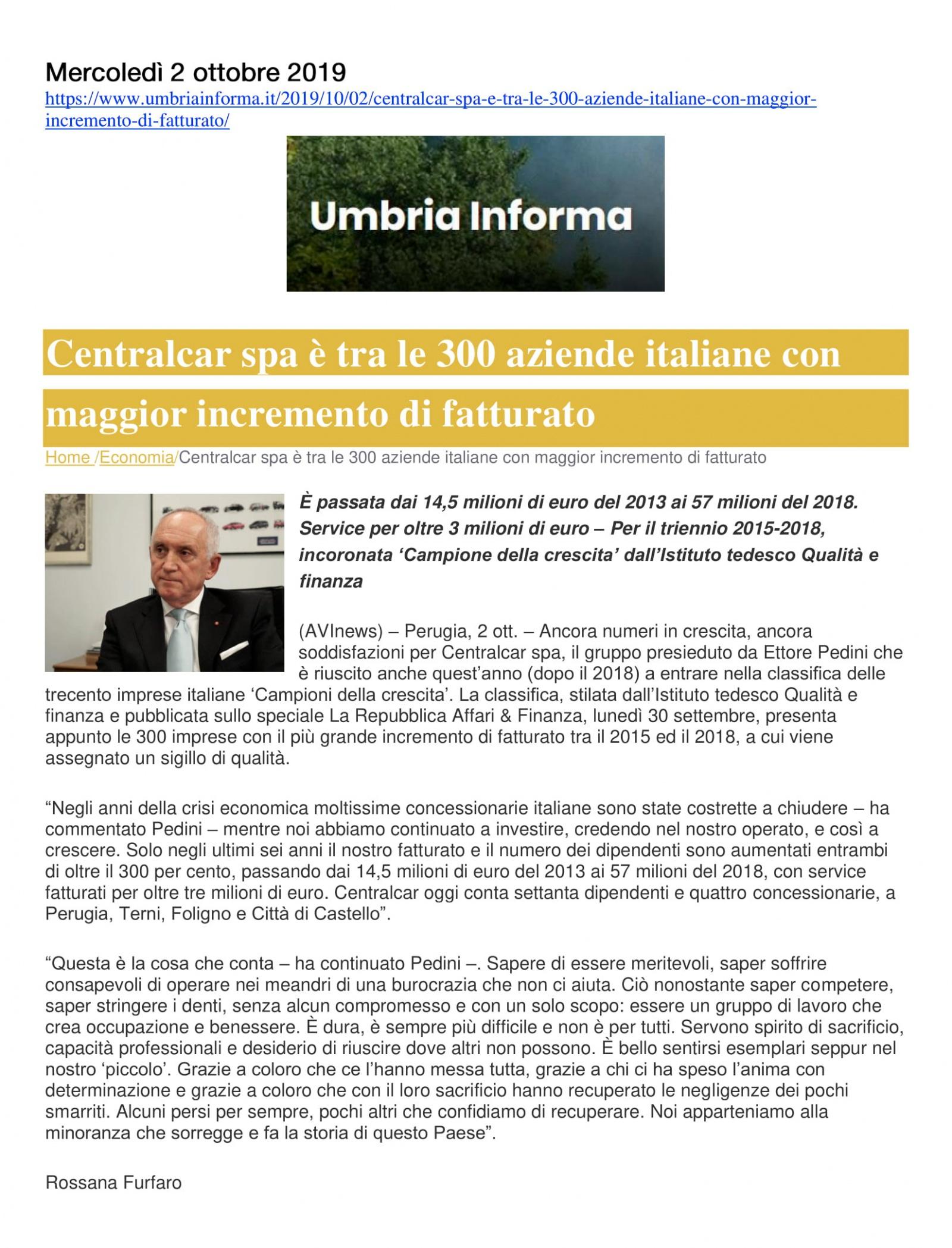 Centralcar spa è tra le 300 aziende italiane con maggior incremento di fatturato