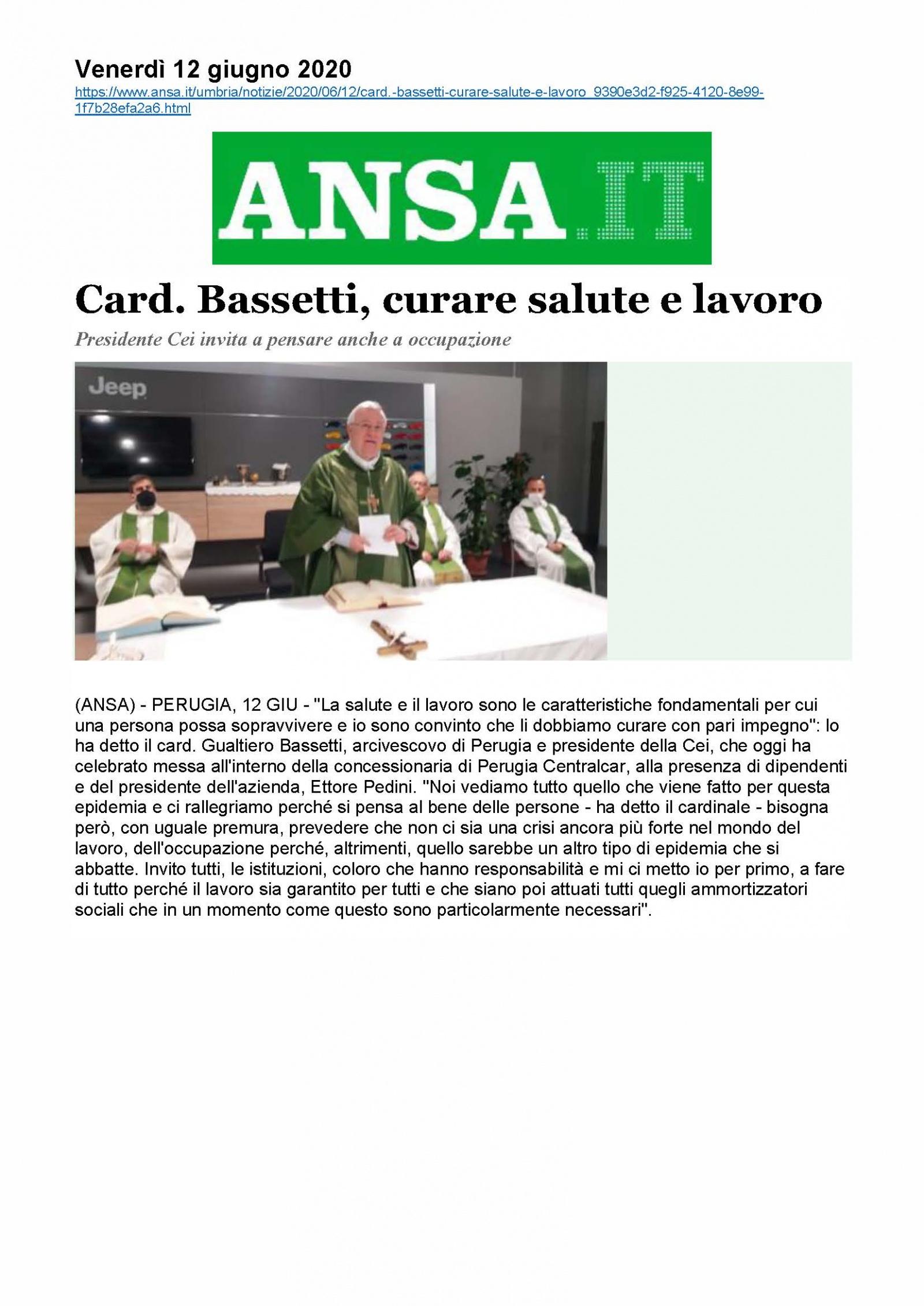 Card. Bassetti, curare salute e lavoro