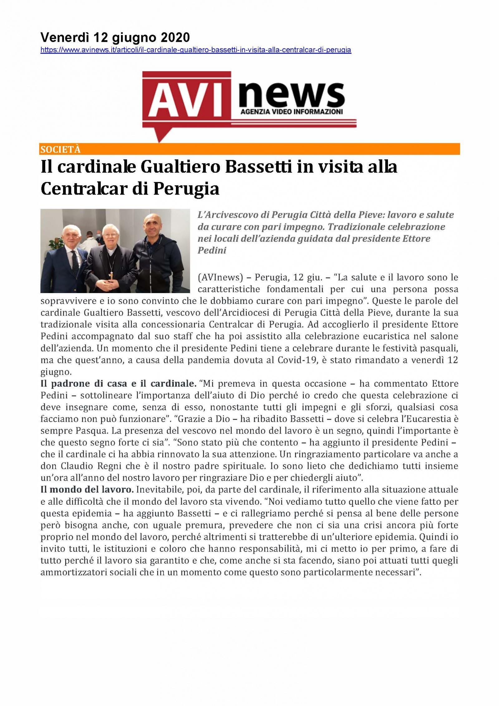 Il cardinale Gualtiero Bassetti in visita alla Centralcar di Perugia