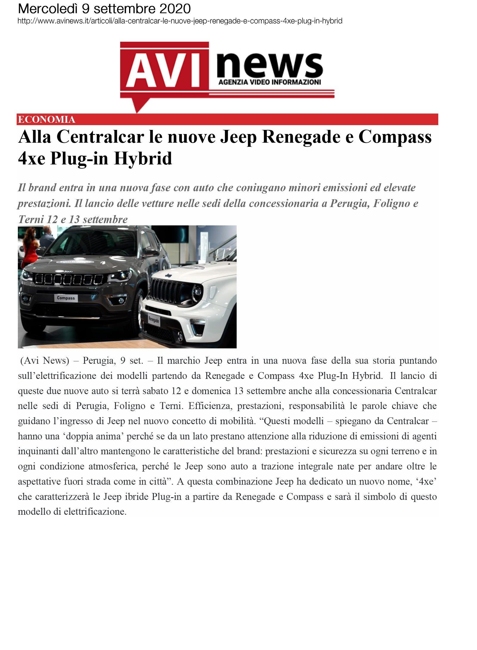 Alla Centralcar le nuove Jeep Renegade e Compass 4xe Plug-in Hybrid
