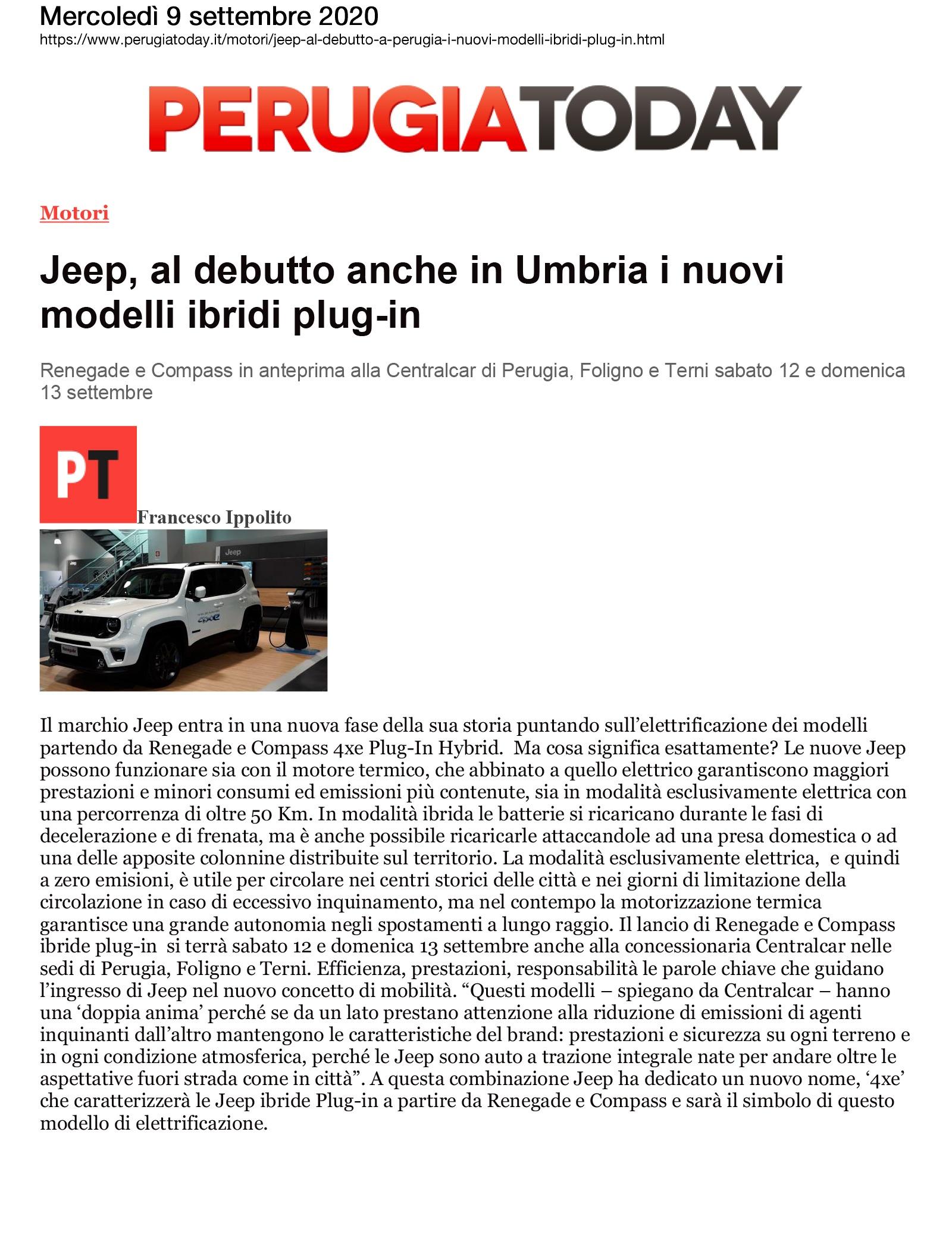 Jeep, al debutto anche in Umbria i nuovi modelli plug-in