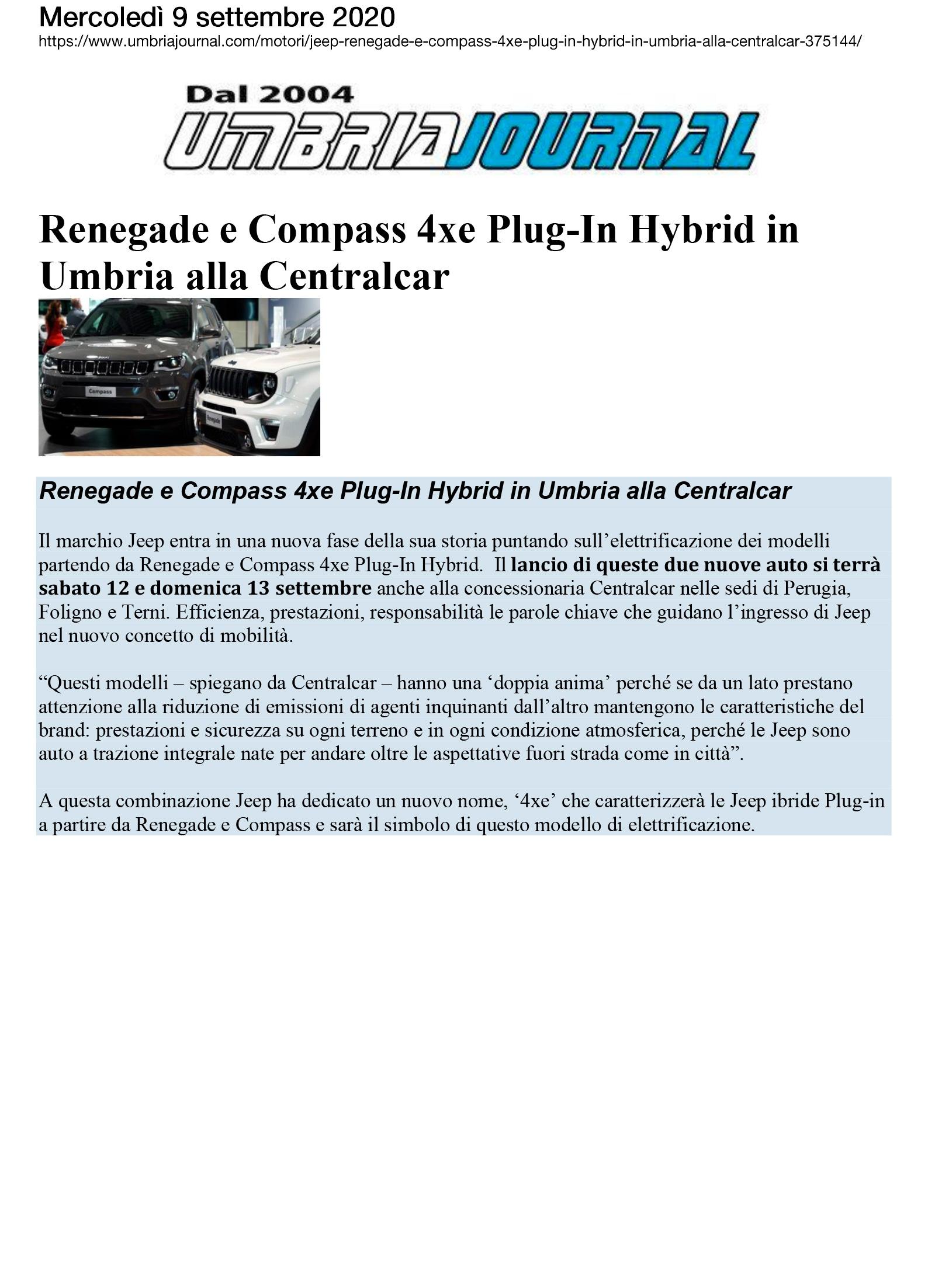 Renegade e Compass 4xe Plug-in Hybrid in Umbria alla Centralcar