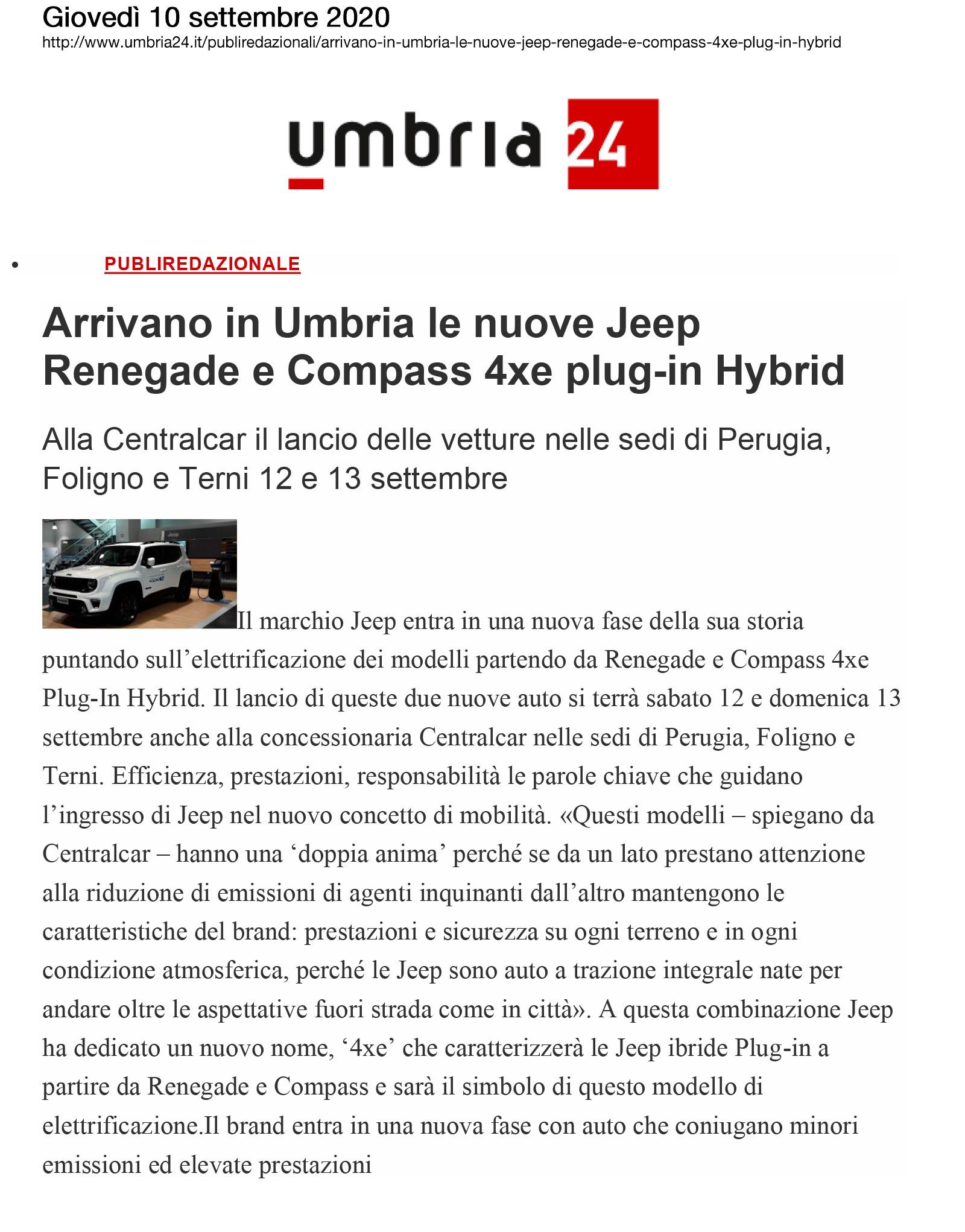 Arrivano in Umbria le nuove Jeep Renegade e Compass 4xe plug-in Hybrid