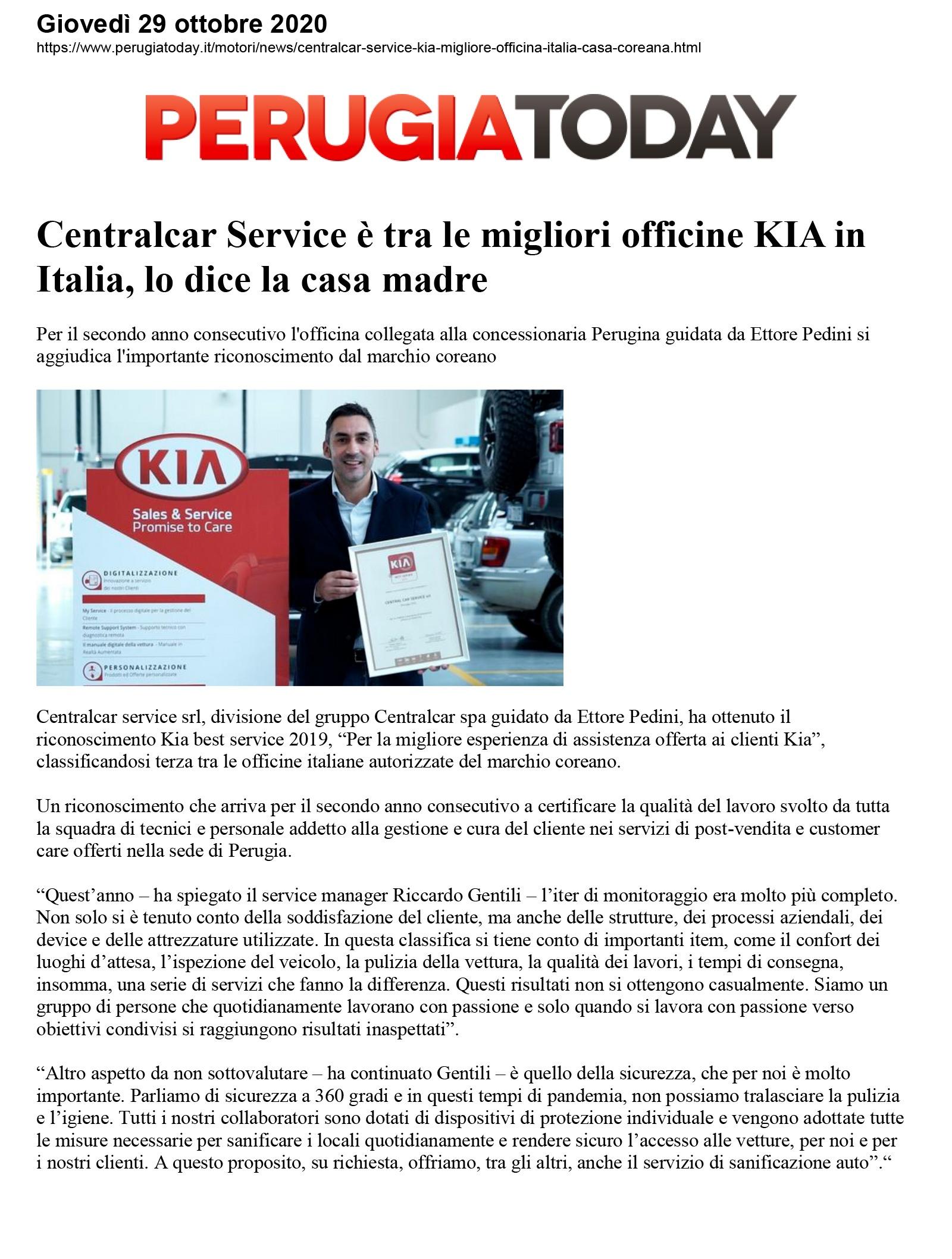 Centralcar Service è tra le migliori officine KIA in Italia, lo dice la casa madre