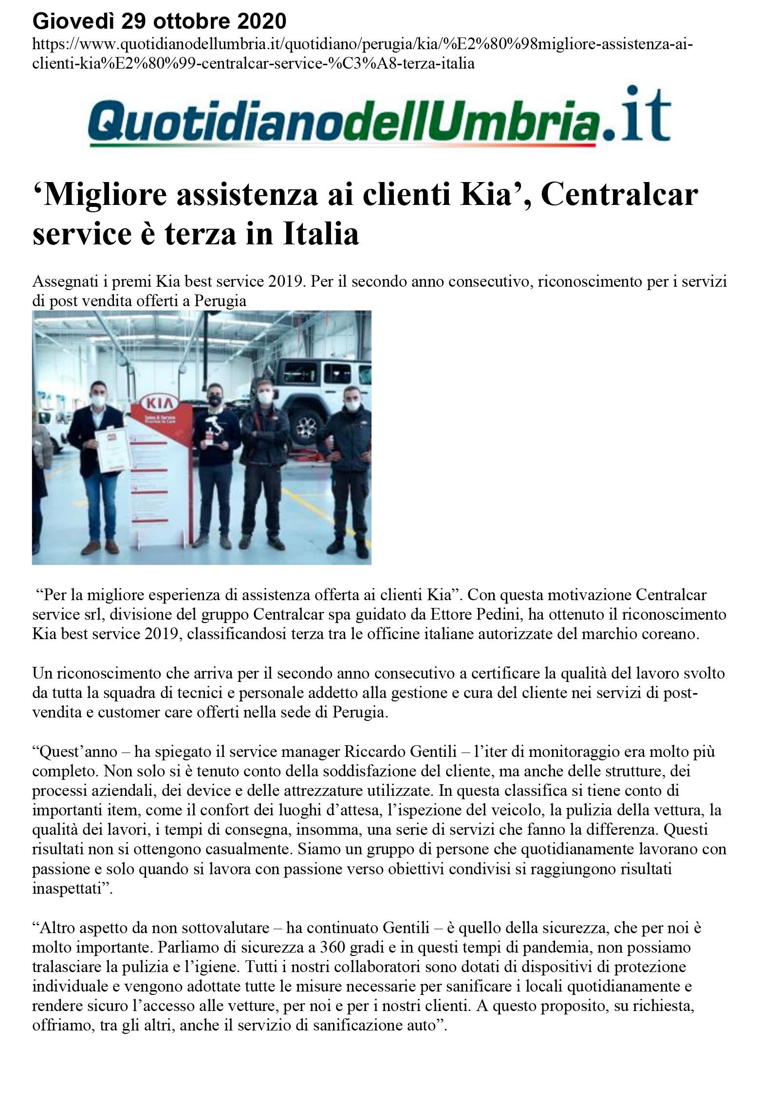 'Migliore assistenza ai clienti Kia', Centralcar service è terza in Italia