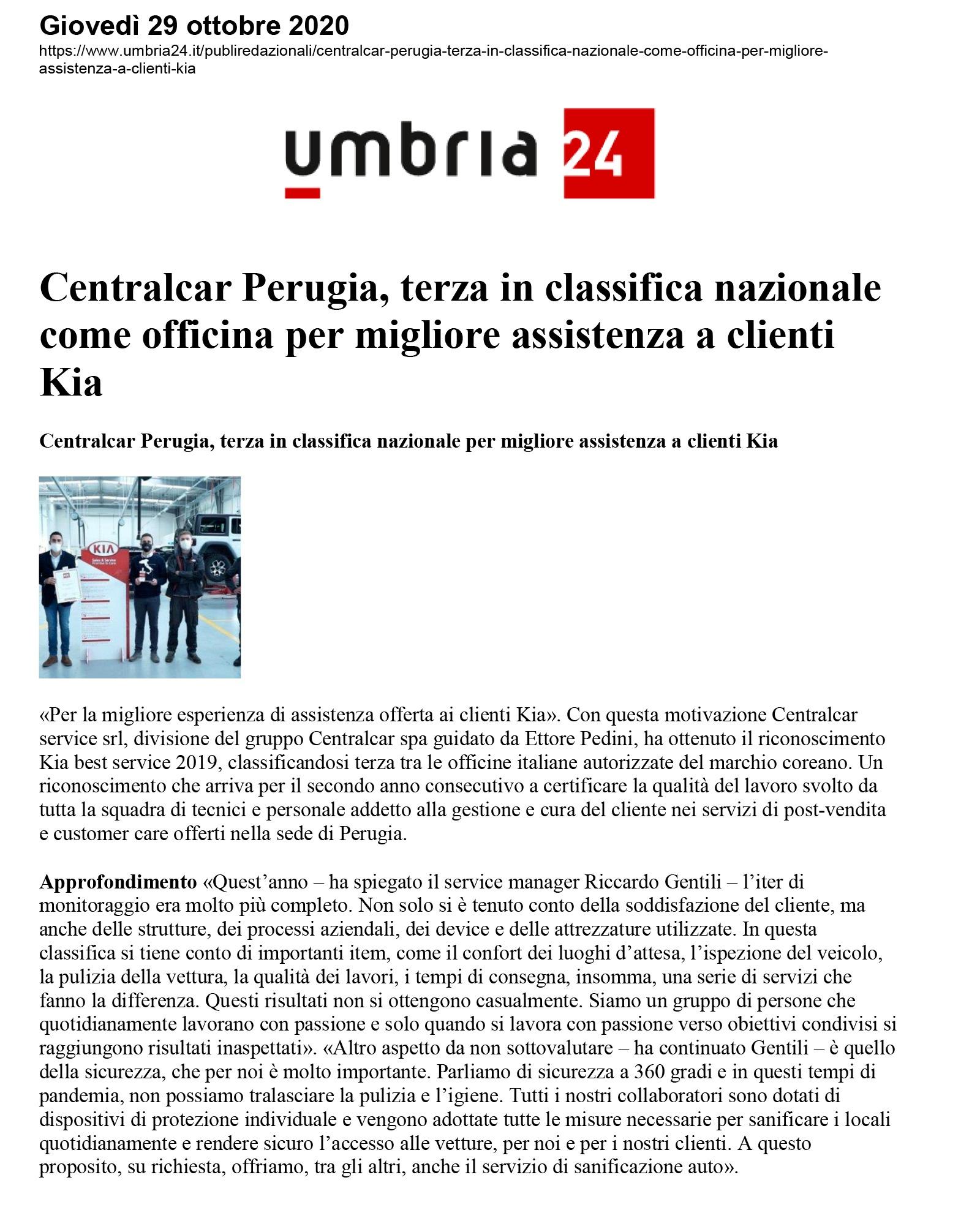 Centralcar Perugia, terza in classifica nazionale come officina per migliore assistenza a clienti Kia