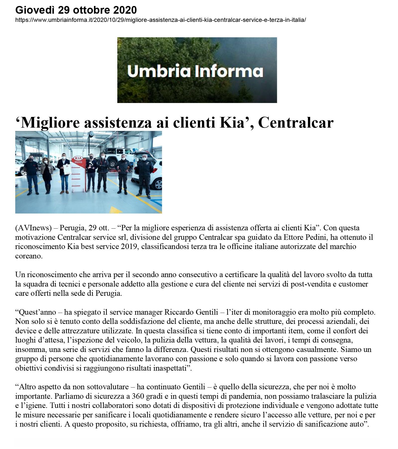 'Migliore assistenza ai clienti Kia', Centralcar