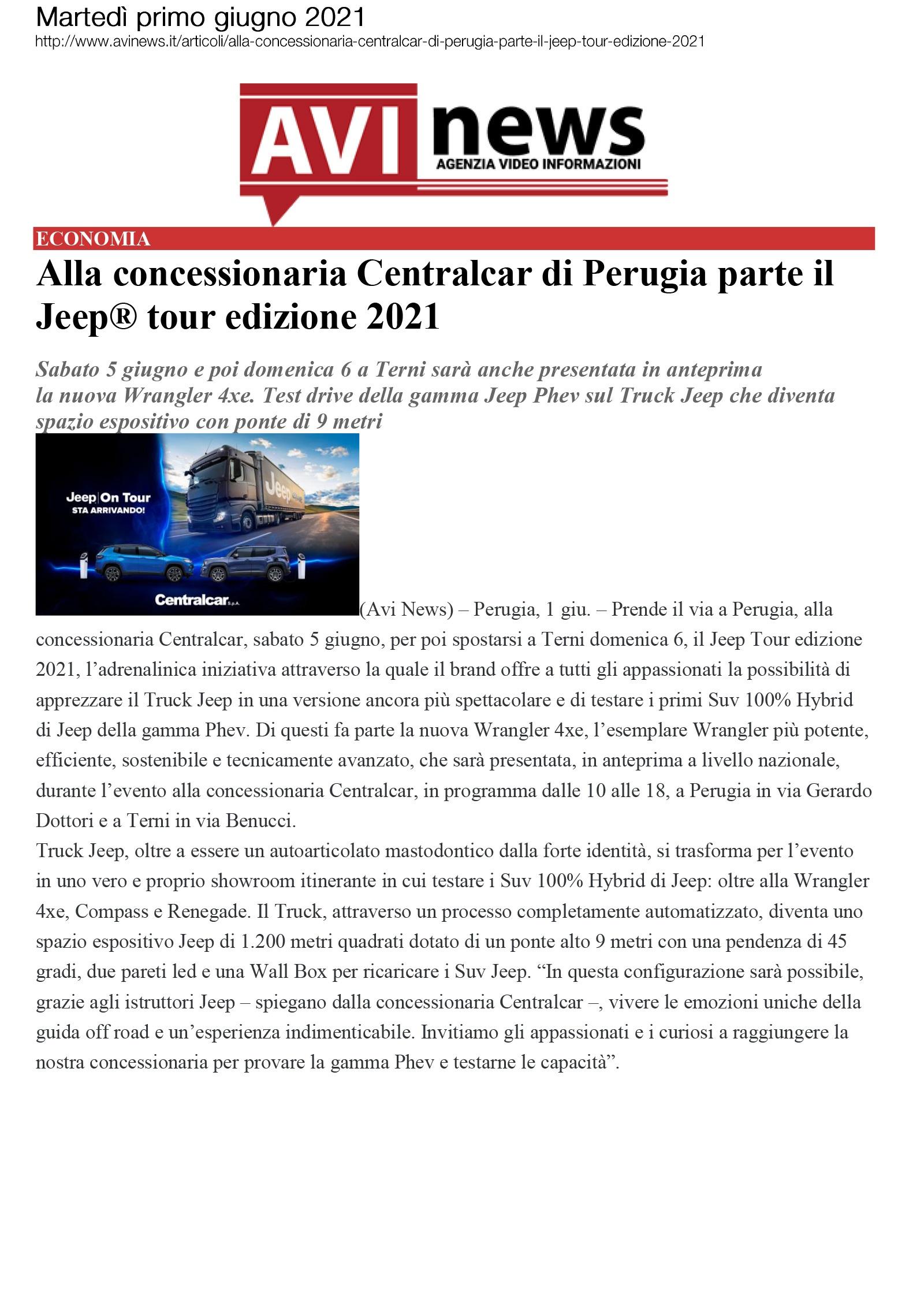 Alla concessionaria Centralcar di Perugia parte il Jeep tour edizione 2021