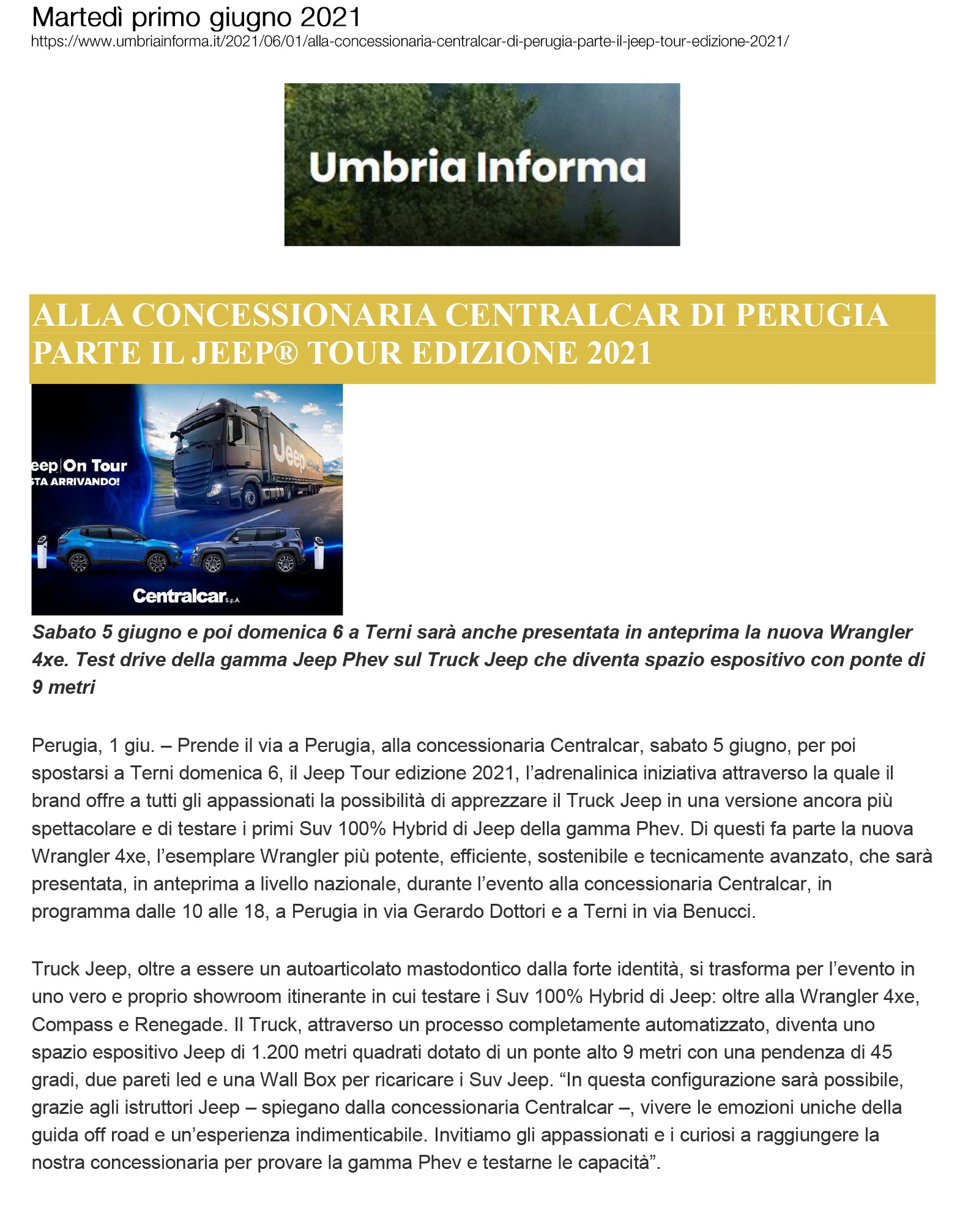 Alla concessionaria Celtracar di Perugia parte il Jeep Tour  edizione 2021