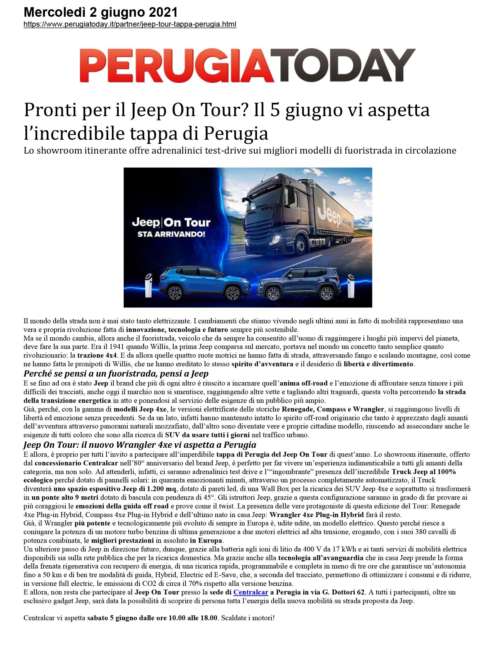 Pronti per il Jeep On Tour? Il 5 giugno vi aspetta  l'incredibile tappa di Perugia