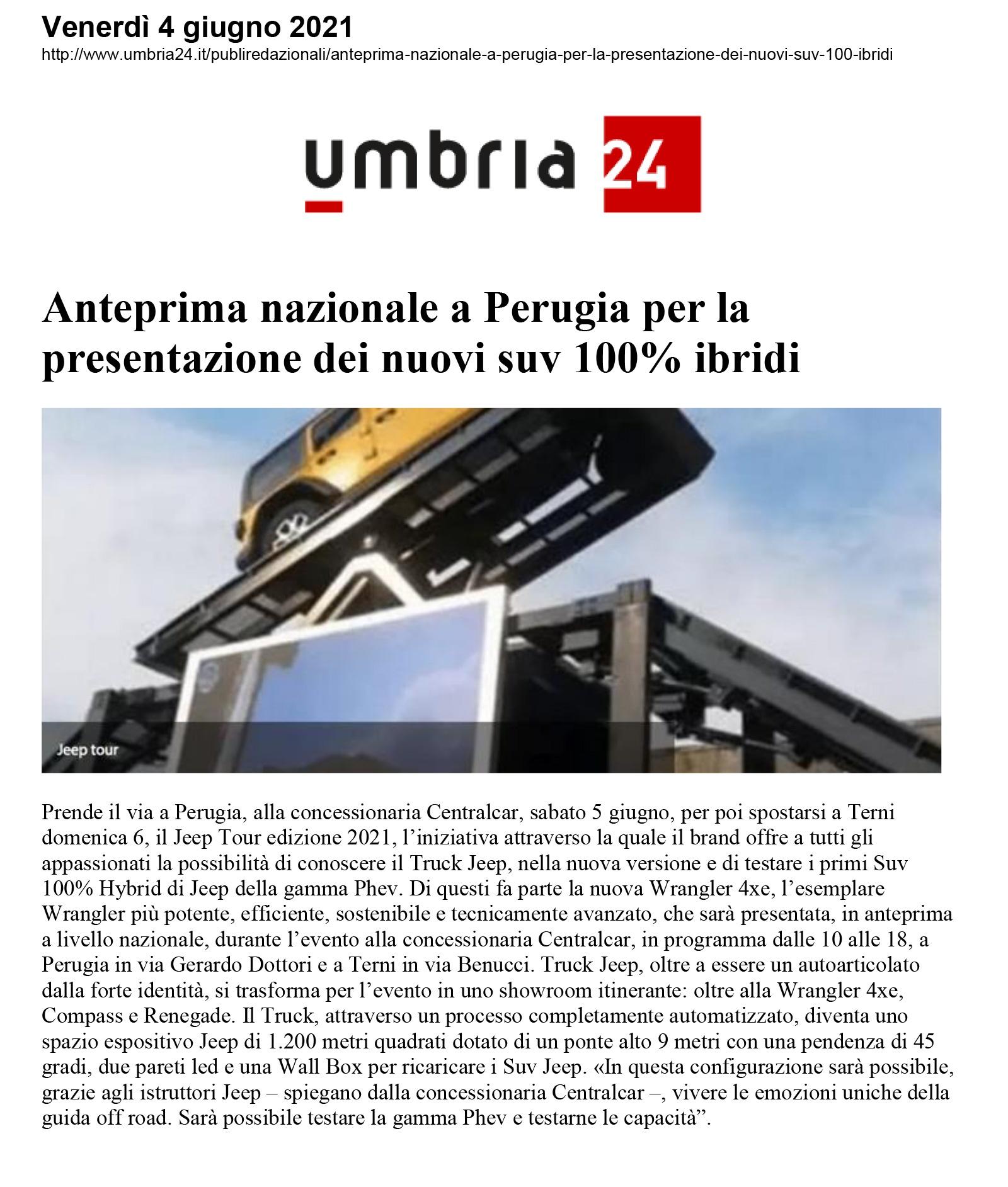 Anteprima nazionale a Perugia per la  presentazione dei nuovi suv 100% ibridi