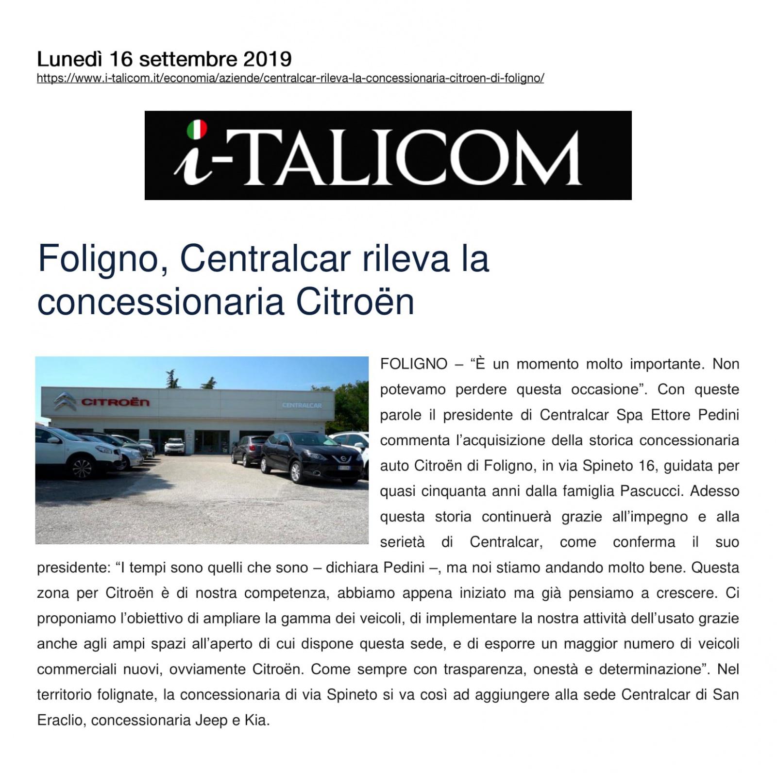 Foligno, Centralcar rileva la concessionaria Citroën