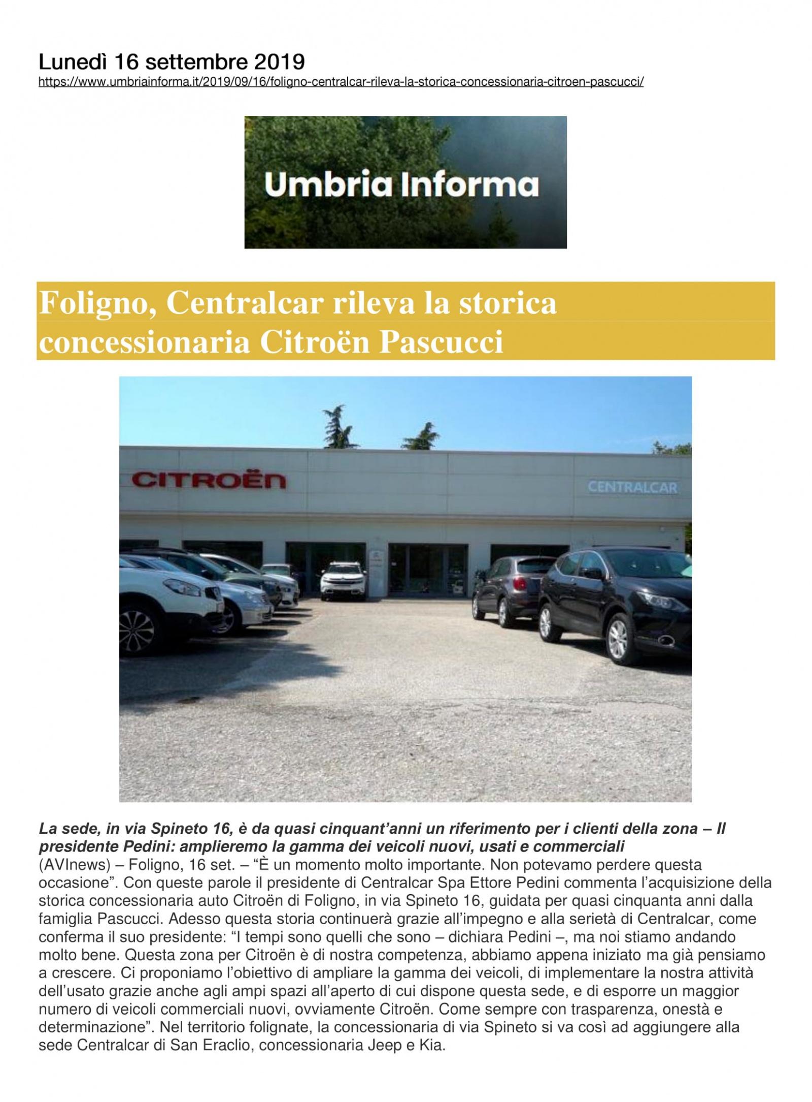 Foligno, Centralcar rileva la storica concessionaria Citroën Pascucci